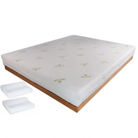 Saltea Memory Superior 5+13 cm 160×200 cm Aloe Vera+ 2 Perne Memory Essential 48x31x10 cm